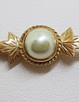 9ct Yellow Gold Cultured Pearl on Ornate Leaf Design Bar Brooch – Antique / Vintage