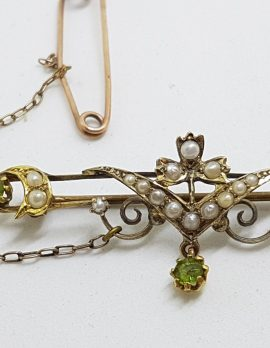 9ct Yellow Gold Peridot and Seedpearl Ornate Bar Brooch - Antique / Vintage