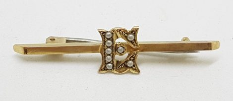 15ct Yellow Gold Seedpearl Initial E Bar Brooch – Antique / Vintage
