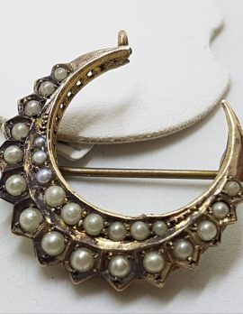 15ct Yellow Gold Seedpearl Crescent Moon Brooch - Antique / Vintage