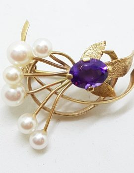 9ct Yellow Gold Amethyst and Pearl Large Swirl Brooch
