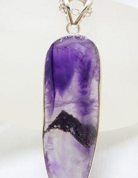 Sterling Silver Amethyst Crystal Long Drop Pendant / Chain