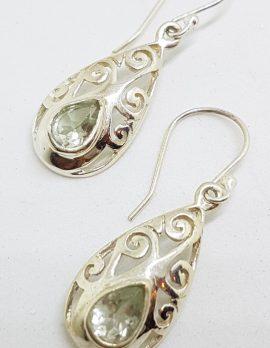 Sterling Silver Green Amethyst / Prasiolite Filigree Drop Earrings