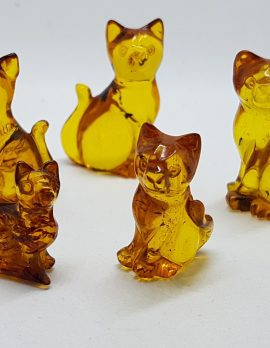 Hand Carved Natural Baltic Amber Small Cat Figurine / Statue