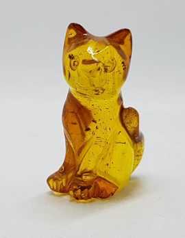 Hand Carved Natural Baltic Amber Small Cat Figurine / Statue 2