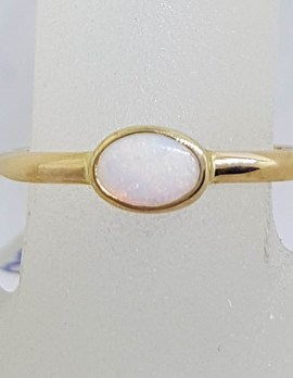 9ct Yellow Gold Oval Bezel Set Opal Ring - Stackable