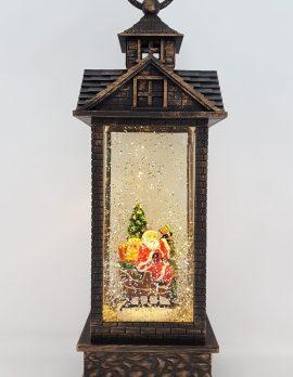Christmas Glitter Lantern – Santa / Father Christmas in a Sleigh with a Christmas Tree – Christmas Ornament Design #8