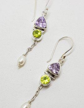 Sterling Silver Amethyst, Peridot and Pearl Drop Earrings