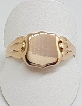 9ct Rose Gold Shield Shape Signet Ring