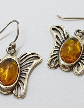 Sterling Silver Natural Amber Large Butterfly Drop Earrings