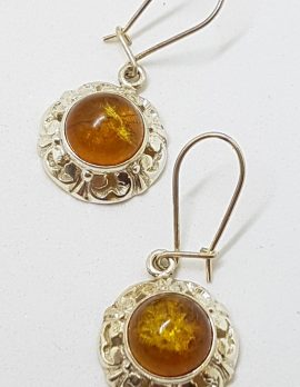 Sterling Silver Natural Baltic Amber Ornate / Filigree Round Drop Earrings