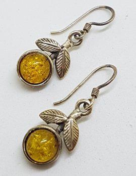 Sterling Silver Natural Baltic Amber Leaf Design Drop Earrings