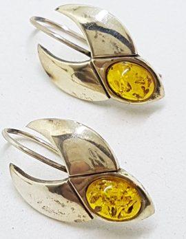 Sterling Silver Natural Baltic Amber Unusual Drop Earrings