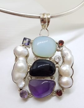 Sterling Silver Large and Unusual Amethyst, Chalcedony, Pearl, Onyx & Garnet Cluster Pendant on Silver Choker / Chain / Necklace