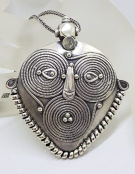 Sterling Silver Very Large and Heavy Ornate Pendant on Silver Chain