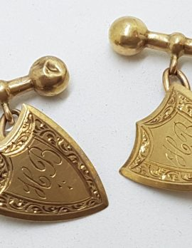 """9ct Yellow Gold Initialled """"H.B."""" Ornate Shield Shape Cufflinks - Vintage / Antique"""