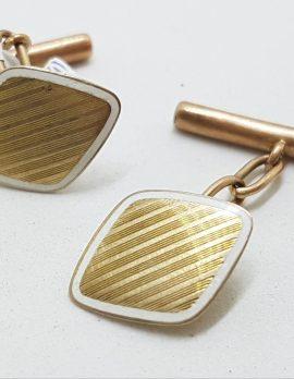9ct Yellow Gold with White Enamel Cufflinks - Diamond Shape