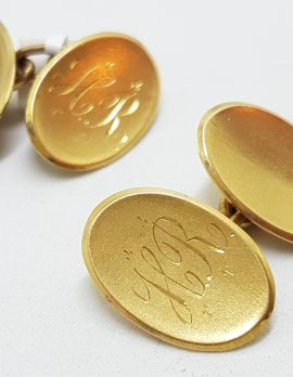 """15ct Yellow Gold Initialled """"H.R."""" Oval Cufflinks - Vintage / Antique"""
