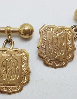 "9ct Yellow Gold Initialled ""F.J.B."" Shield Cufflinks - Vintage / Antique"