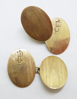 """9ct Yellow Gold Initialled """"J.P."""" Oval Cufflinks - Vintage / Antique"""
