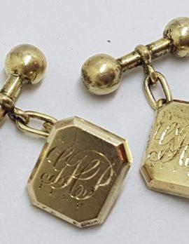 "9ct Gold Rectangular Monogrammed ""G.H.P"" Cufflinks"