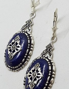 Sterling Silver Ornate Oval Lapis Lazuli and Marcasite Drop Earrings