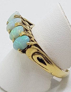 9ct Yellow Gold High Set 4 Solid Opals Bridge Set Ring - Antique / Vintage