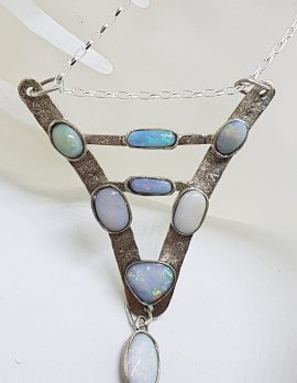 Sterling Silver Handmade Unusual Large V Shape Opal Pendant on Silver Chain / Necklace