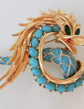 Vintage Costume Jewellery Large Plated Blue Dragon Brooch - Boucher France