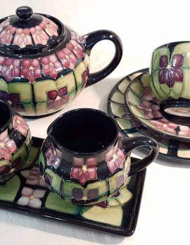 Moorcroft Violets Design Teaset - 6 x Cups/Saucers/Plates, 1 x Teapot, Milk Jug, Sugar Bowl and Tray