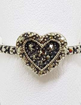 Sterling Silver Vintage Marcasite Heart Ring