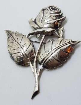 Sterling Silver Vintage Large Rose Flower Brooch
