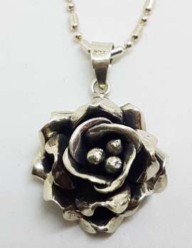 Sterling Silver Vintage Rose Flower Pendant on Silver Chain