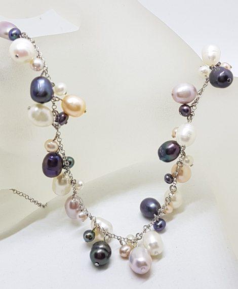 Sterling Silver Multi-Colour Pearl Drops Necklace