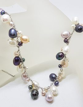 Sterling Silver Multi-Colour Pearl Drops Necklace