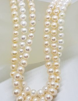 Sterling Silver White and Cream Pearl Short Choker Pearl Three Strand Necklace