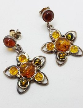 Sterling Silver Multi-Colour Natural Baltic Amber Large Flower Cluster Drop Earrings