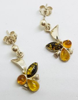 Sterling Silver Natural Multi-Colour Baltic Amber Drop Earrings