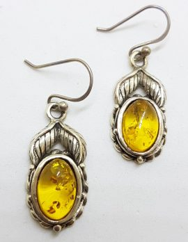 Sterling Silver Natural Baltic Amber Oval Leaf Design Drop Earrings
