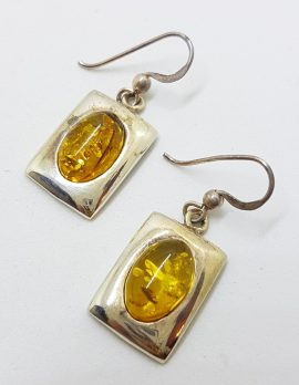 Sterling Silver Natural Baltic Amber Oval in Rectangular Drop Earrings