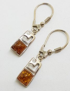 Sterling Silver Natural Baltic Amber Square on Rectangular Drop Earrings