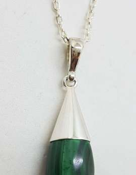 Sterling Silver Teardrop Malachite in Cone Pendant on Silver Chain