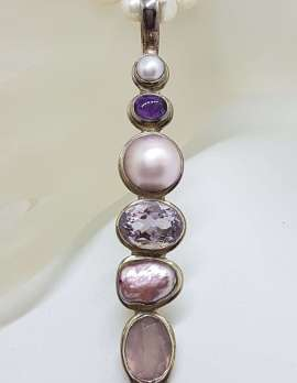Sterling Silver Very Long Drop Pearl ( Blister and Mabe ) with Amethyst Pink and Purple Pendant on Pearl Chain Necklace