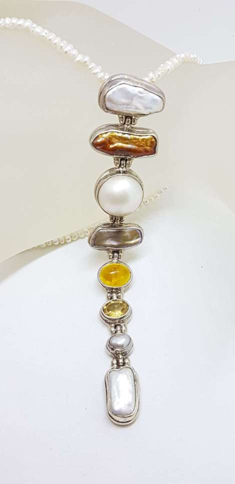 Sterling Silver Very Long Drop Pearl ( Blister and Mabe ) with Citrine Pendant on Pearl Chain Necklace
