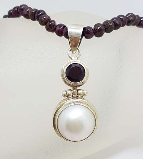 Sterling Silver Mabe Pearl & Garnet Pendant on Garnet Bead Chain
