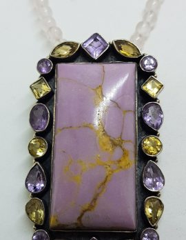 Sterling Silver Large Phosphosiderite surrounded by Amethyst and Citrine Pendant on Rose Quartz Bead Necklace / Chain