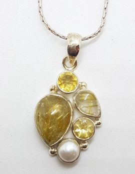 Sterling Silver Citrine, Rutilated Quartz and Pearl Pendant on Chain