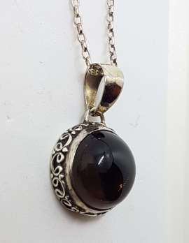 Sterling Silver Round Cabochon Cut with Ornate Sides Smokey Quartz Pendant on Silver Chain