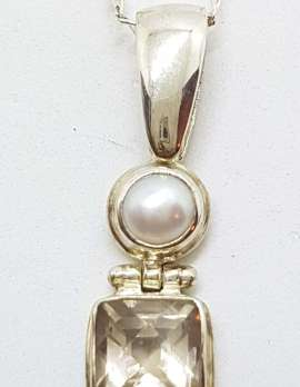 Sterling Silver Square Smokey Quartz with Pearl Pendant on Silver Chain