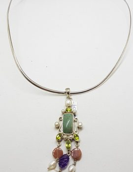 Sterling Silver Long and Ornate Jade, Amethyst, Carnelian, Peridot and Pearl Pendant on Silver Choker Chain / Necklace